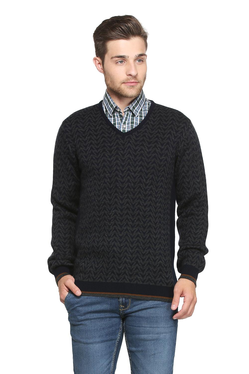 Peter England Sweaters, Peter England Black Sweater for Men
