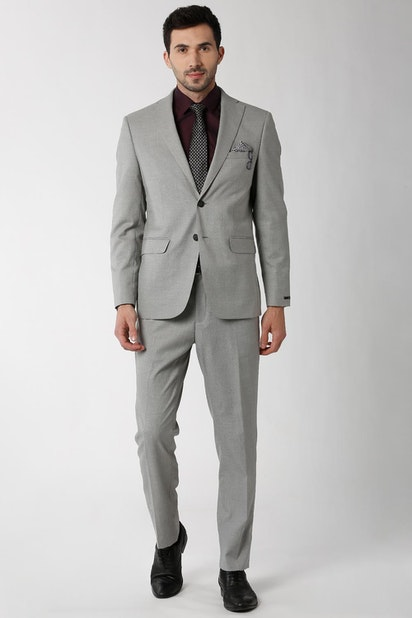 Peter England Elite Suits Blazers Peter England Grey Two Piece Suit For Men At Peterengland Com
